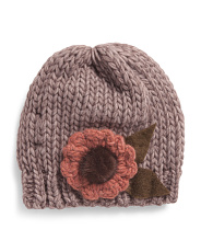 Made In Italy Flower Applique Beanie