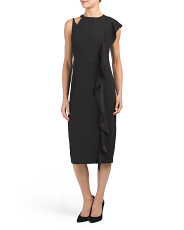 Midi Dress With Cascading Side Ruffle