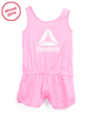 Little Girls Glitter Logo Active Romper
