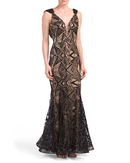 Deep V Lace Gown With Capelet