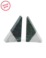 Set Of 2 Marble Bookends
