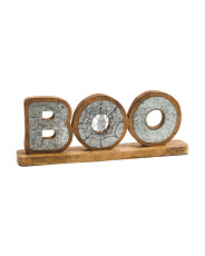 Wood & Galvanized Metal Boo Table Decor