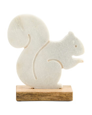 9in Marble Squirrel On Wooden Base