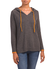 Hooded Cashmere Sweater With Tipping
