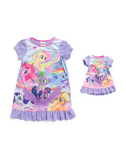 Girls My Little Pony Sleep Gown & Matching Doll Gown