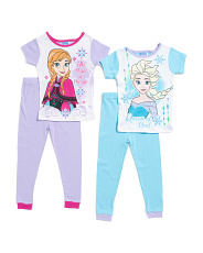 Girls 4 Pc Frozen Elsa & Anna Sleepwear Set