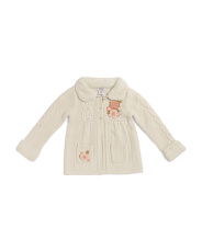 Little Girls Flower Sweater With Faux Fur Collar