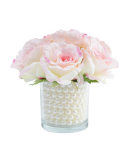 8in Faux Rose In Glass Vase
