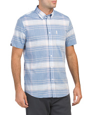 Short Sleeve Plaid Woven Shirt