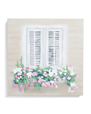16x16 Flowers In The Window Canvas Wall Art