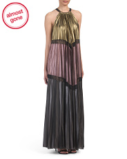 Long Pleated Metallic Gown