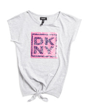 Little Girls Tie Front Logo Top