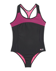 Big Girls One Piece Mesh Performance Swimsuit