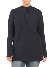 Plus Hooded Ottoman Ribbed Tunic