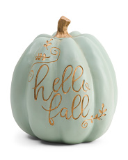 8.5in Resin Hello Fall Pumpkin