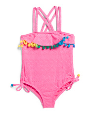 Toddler Girls Pom Pom One-piece Swimsuit