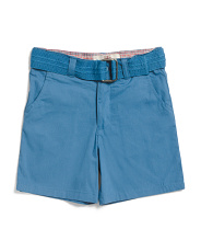 Little Boys Belted Twill Shorts