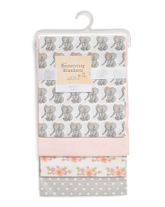 Baby Girls 4pk Elephant & Flowers Receiving Blankets