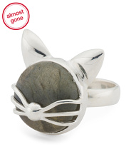 Handmade In India Sterling Silver Labradorite Kitty Ring