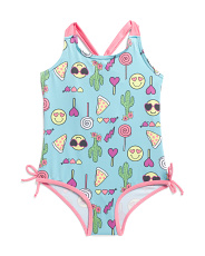Little Girls 1pc Emoji Swimsuit