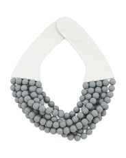 Handmade In Italy Leather Bella Matte Beaded Necklace