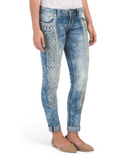 Panel Embroidery Skinny Jeans