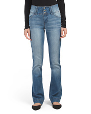 Juniors Triple Button Bootcut Jeans