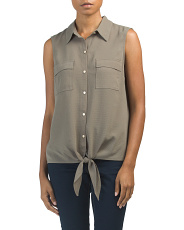 Sleeveless Tie Front Button Down Top