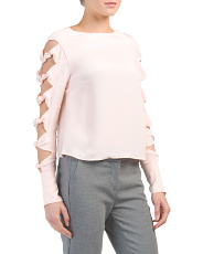 Silk Top With Bow Sleeve Detail
