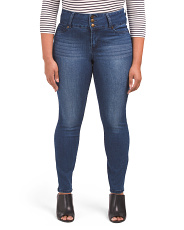 Plus 3 Button Booty Lifter Skinny Jeans