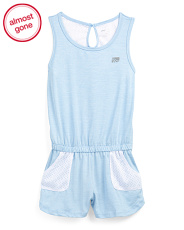Little Girls Active Romper With Mesh Back & Pockets