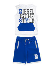 Toddler Boys 2pc Hooded Muscle Tee & Logo Short Set