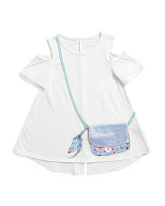 Big Girls Daisy Cold Shoulder Purse Top