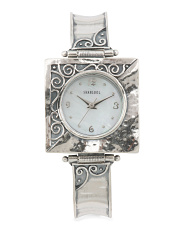 Women's Made In Israel Sterling Silver 22mm Square Watch