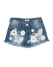 Big Girls Denim Shorts With Lace