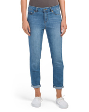 Petite High Waist Roll Cuff Ankle Jeans