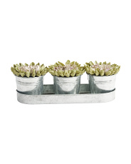 Set Of 3 14x6 Faux Mums In Tin Pot