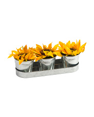 3pc Sunflowers In Tin Pot With Tray