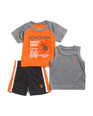 Little Boys 3pc Active Muscle Tee & Short Set