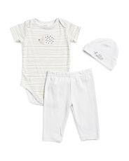 Newborn Boys Hedgehog 3pc Bodysuit Pant & Cap