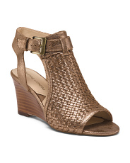 Leather Metallic Weave Wedges