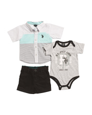 Newborn Boys 3 Piece Woven T Shirt & Short Set