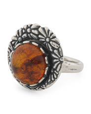 Made In Israel Sterling Silver Amber Flower Ring