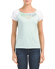 Short Sleeve Jeweled Neck Pullover
