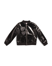 Big Girls Sequin Heart Faux Leather Jacket
