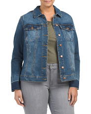 Plus Lily Bell Sleeve Release Cuffs Jean Jacket