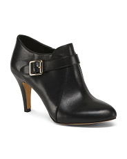 Leather High Heel Ankle Booties