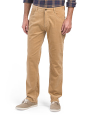 Washed Stretch Corduroy Flat Front Pants