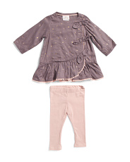 Newborn Girls 2pc Foil Star Tunic Legging Set
