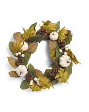 22in Faux Pumpkin, Pinecone & Berry Wreath